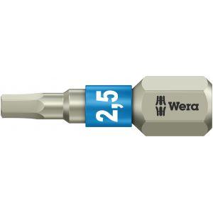 Бита WERA 3840/1 TS шестигранник 2,5/25 мм, нержавеющая сталь 071072