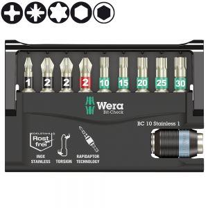 Набор WERA Bit-Check 10 Stainless 1, нержавеющая сталь 071110