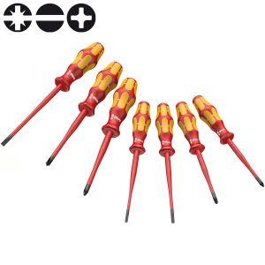Набор отверток диэлектрический WERA Kraftform Plus с уменьшенным диаметром стержня и частично с меньшим диаметром ручек 160 iSS/7 135961